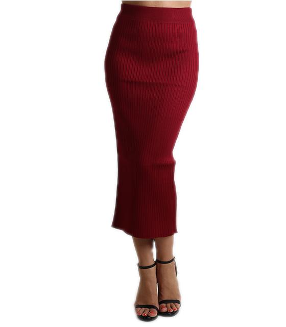 Πλεκτή φούστα μίντι με λάστιχο (Μπορντό)