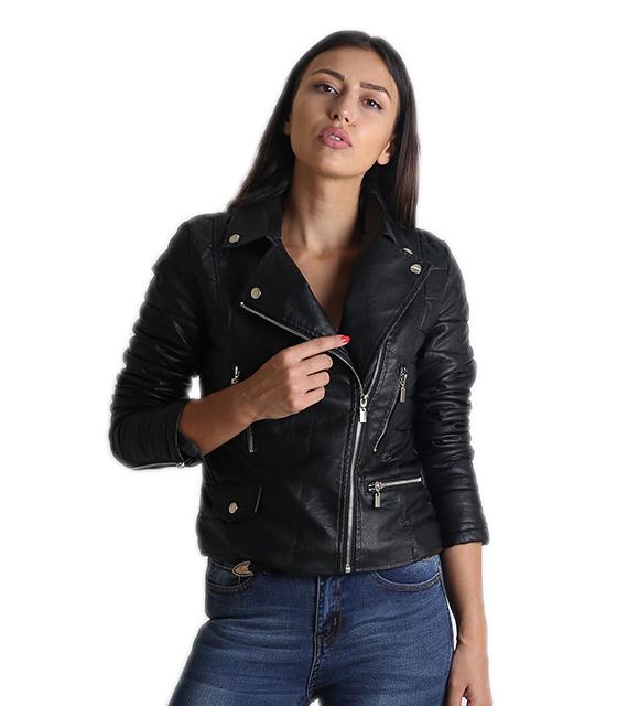 Δερματίνη Jacket με φερμουάρ και γιακά (Μαύρο)