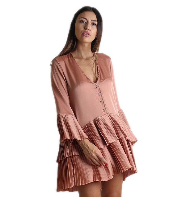 Φαρδύ φόρεμα με πλισέ λεπτομέρειες και κουμπιά (Ροζ)