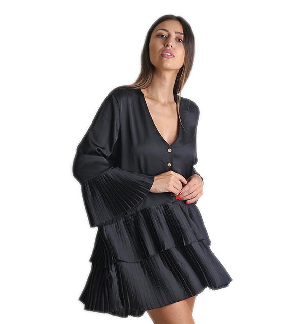 Φαρδύ φόρεμα με πλισέ λεπτομέρειες και κουμπιά (Μαύρο)