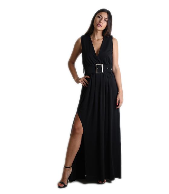 Μάξι φόρεμα με ζώνη (Μαύρο)