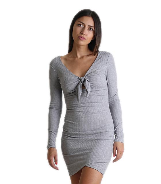 Ριπ φόρεμα με επένδυση και δέσιμο (Γκρι)