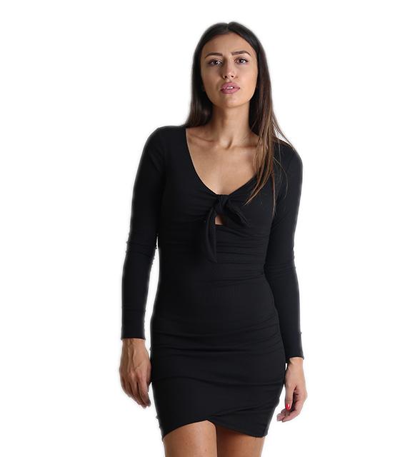 Ριπ φόρεμα με επένδυση και δέσιμο (Μαύρο)