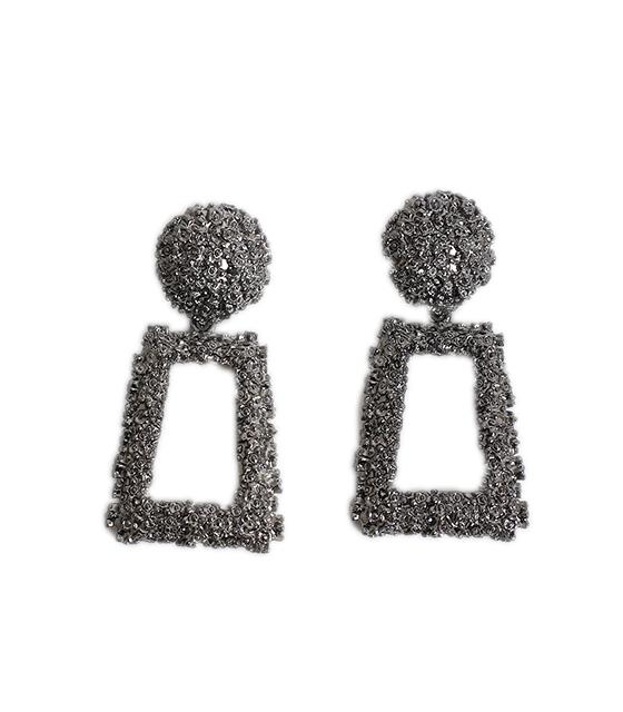 Γεωμετρικά σκουλαρίκια μεταλλικά (Μαύρο)