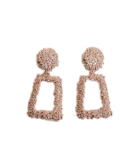 Γεωμετρικά σκουλαρίκια μεταλλικά (Ροζ-Χρυσό)