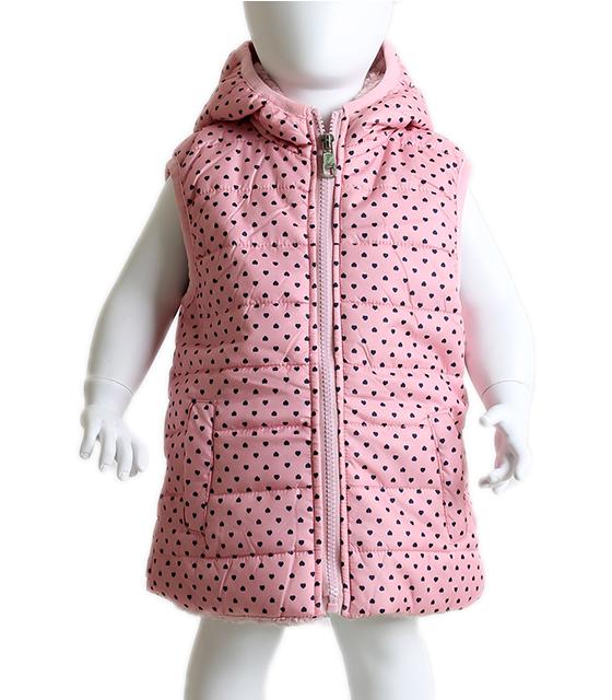 Βρεφικό αμάνικο μπουφάν πουά με καρδούλες (Ροζ) παιδικά