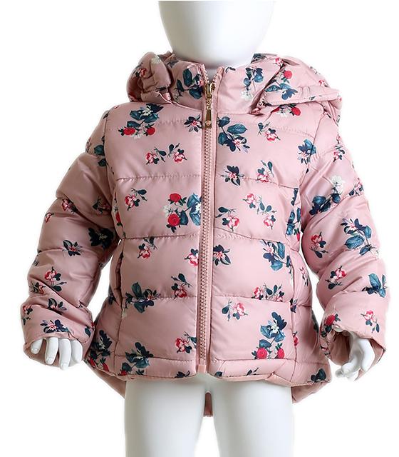 Βρεφικό μπουφάν φλοράλ με αποσπώμενη κουκούλα (Ροζ) παιδικά