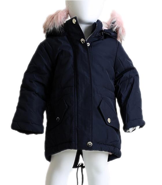 4c6cbe0136f Βρεφικό μπουφάν με αποσπώμενη κουκούλα και ροζ γούνα (Σκούρο μπλε)