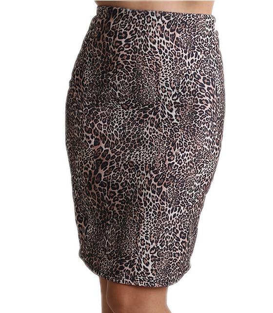 Μίντι φούστα με λάστιχο στην μέση (Τιγρέ)