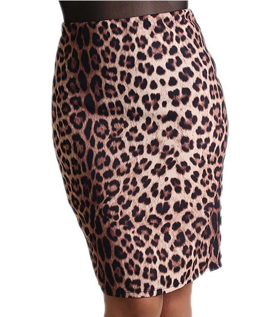 Μίντι φούστα με λάστιχο στην μέση (Λεοπάρ)