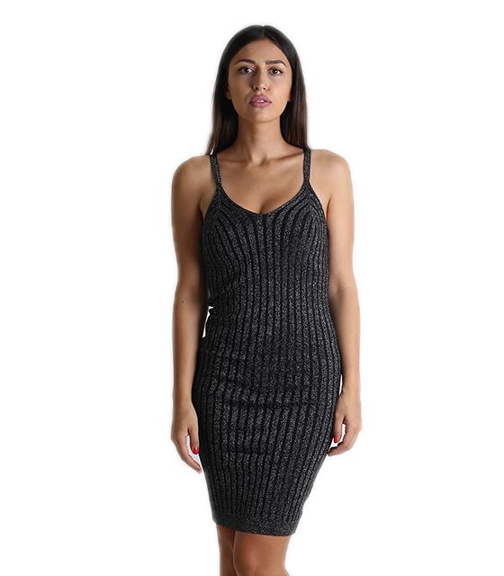 Φόρεμα λούρεξ με τιράντα (Μαύρο)