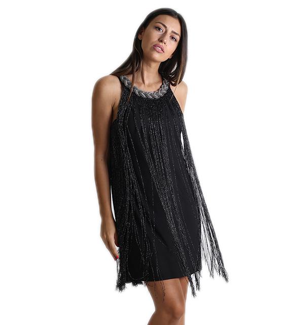 Φόρεμα μίντι με κρόσια (Μαύρο)