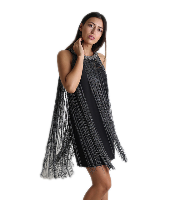 Φόρεμα μίντι με κρόσια (Γκρι σκούρο)