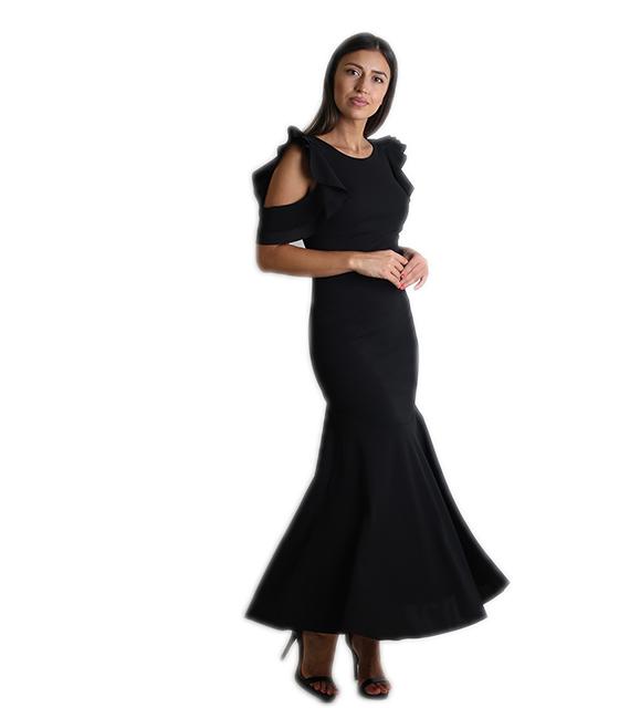 Μάξι φόρεμα με χιαστή στην πλάτη και κρυφό φερμουάρ (Μαύρο)