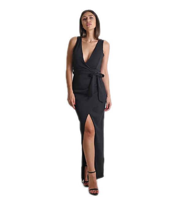 Μάξι φόρεμα με επένδυση και ζώνη (Μαύρο)