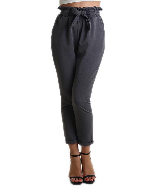 Ψηλόμεσο παντελόνι με φιόγκο (Γκρι)