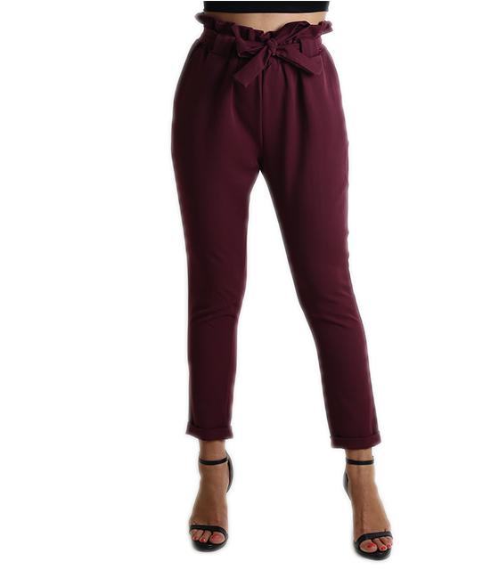 Ψηλόμεσο παντελόνι με φιόγκο (Μπορντό)