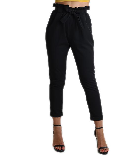 Ψηλόμεσο παντελόνι με φιόγκο (Μαύρο)