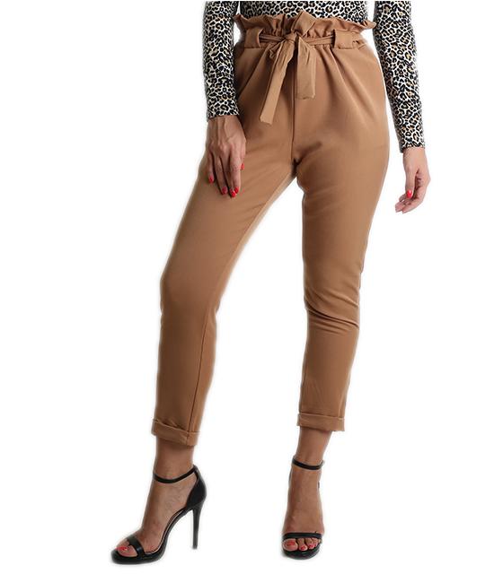 Ψηλόμεσο παντελόνι με φιόγκο (Κάμελ)