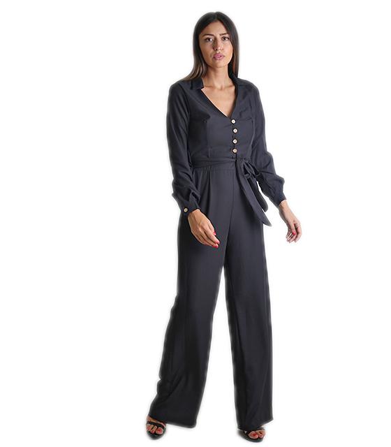 Ολόσωμη φόρμα κρουαζέ με κουμπιά και ζώνη (Μαύρο)