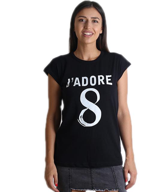 """Μαύρη μπλούζα με τύπωμα """"JADORE"""""""