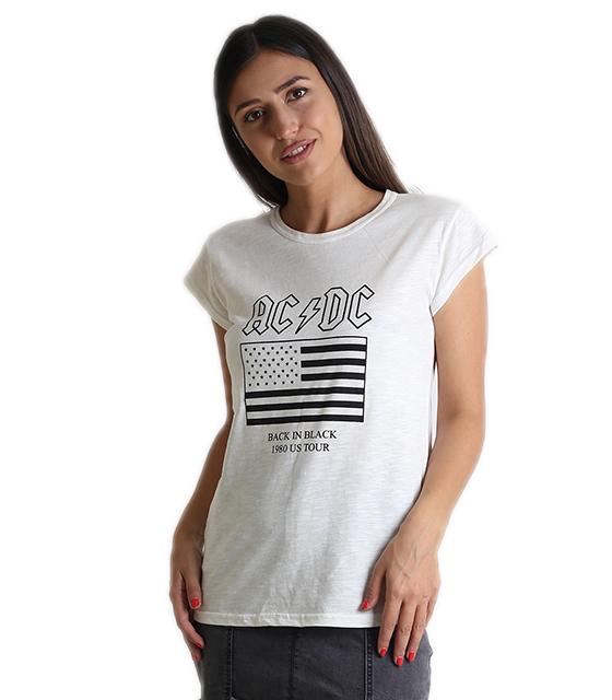 """Εκρού μπλούζα με τύπωμα """"AC DC"""""""