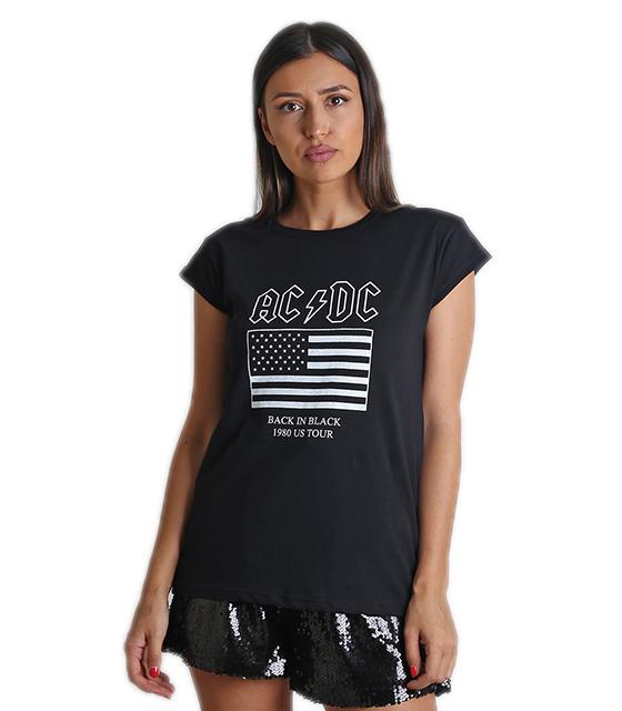 """Μαύρη μπλούζα με τύπωμα """"AC DC"""""""