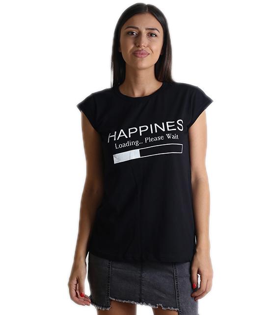 """Μαύρη μπλούζα με τύπωμα """"HAPPINES"""""""