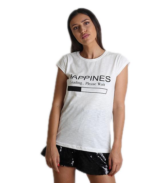 """Εκρού μπλούζα με τύπωμα """"HAPPINES"""""""