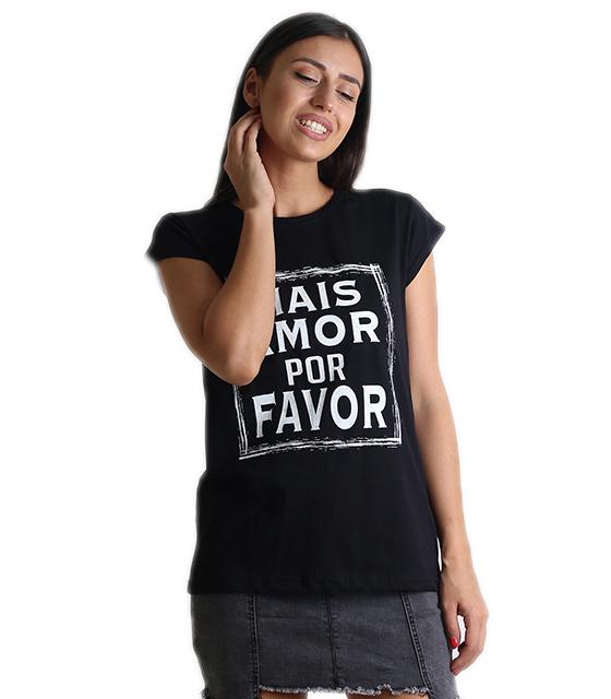 """Μαύρη μπλούζα με τύπωμα """"MAIS AMORE"""""""