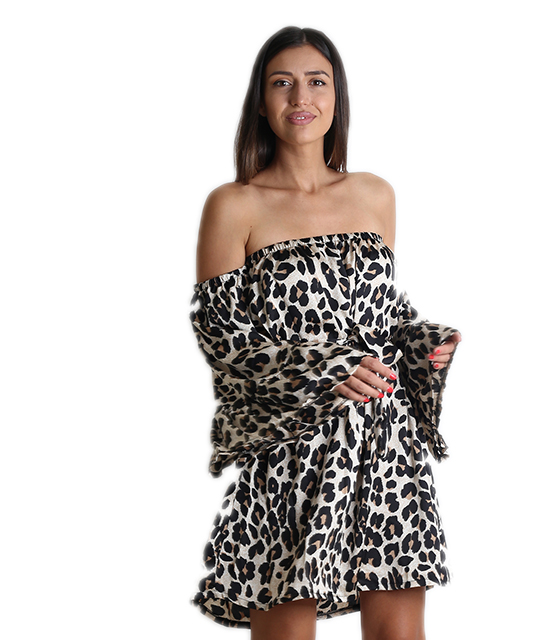 Bardot φόρεμα λεοπάρ με ζώνη