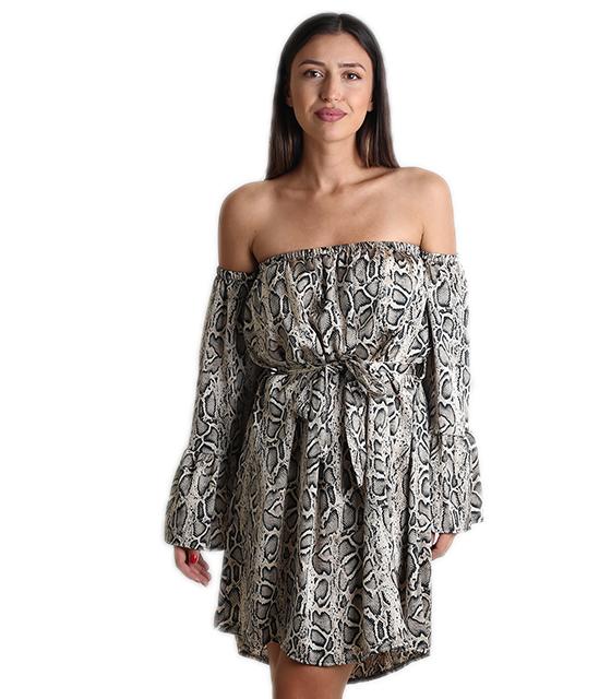 Bardot φόρεμα φιδίσιο με ζώνη
