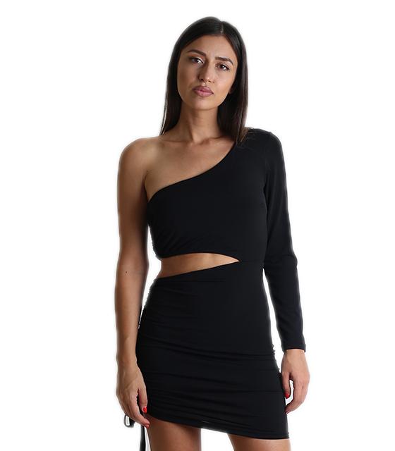 Φόρεμα με ένα μανίκι και σούρα (Μαύρο)