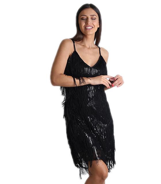 Μαύρο φόρεμα με κρόσια και παγιέτες