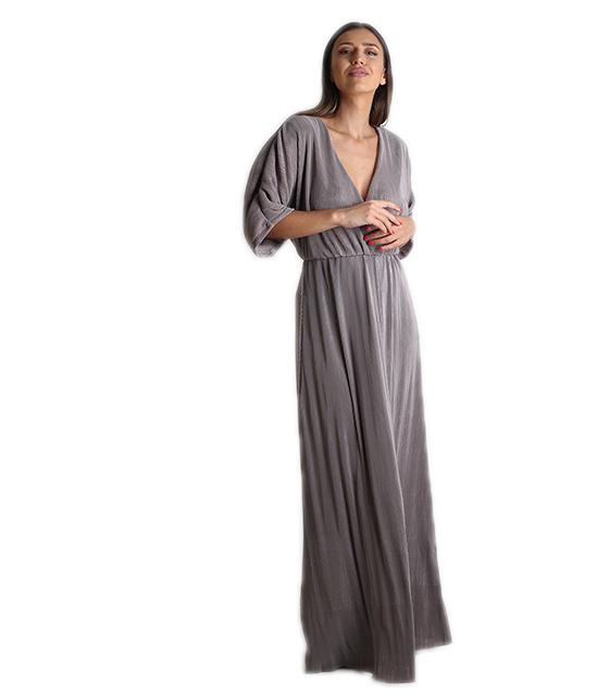 Μάξι φόρεμα πλισέ (Χακί)