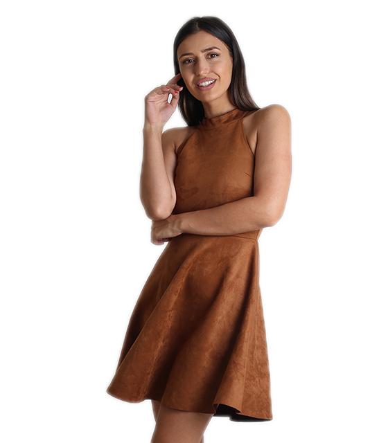 Φόρεμα σουέτ με χιαστή κορδόνια στο πίσω μέρος (Κάμελ)