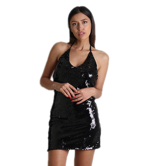 Μαύρο φόρεμα με πούλιες εξώπλατο