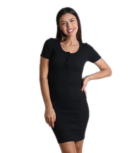 Φόρεμα ριπ με κουμπιά (Μαύρο) ρούχα   φορέματα