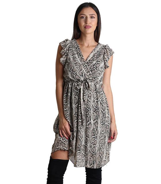 Φόρεμα κρουαζέ με ζώνη και βολάν (Φιδίσιο)