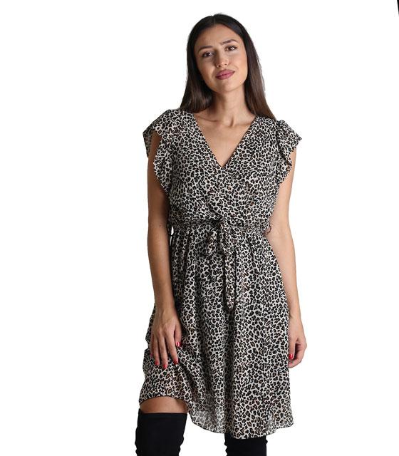 Φόρεμα κρουαζέ με ζώνη και βολάν (Λεοπάρ)