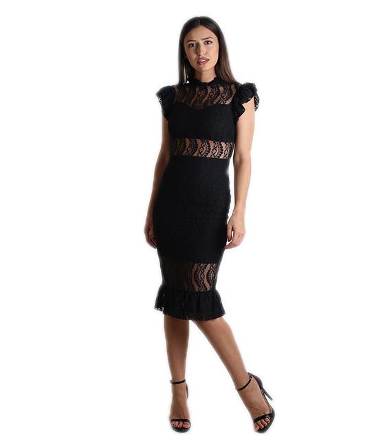 Φόρεμα δαντέλα με κρυφό φερμουάρ και βολάν (Μαύρο) ρούχα   φορέματα