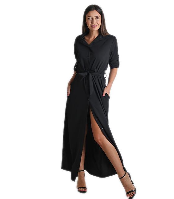 Φόρεμα μάξι με κουμπιά και ζώνη (Μαύρο) ρούχα   φορέματα