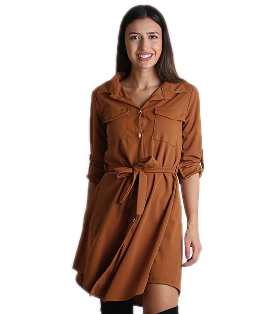 Κάμελ φόρεμα με τσέπες και ζώνη