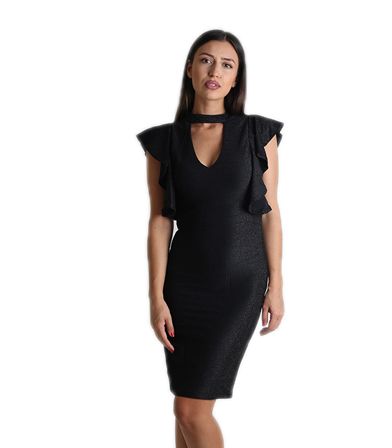 Φόρεμα λούρεξ με βολάν στα μανίκια (Μαύρο) ρούχα   φορέματα
