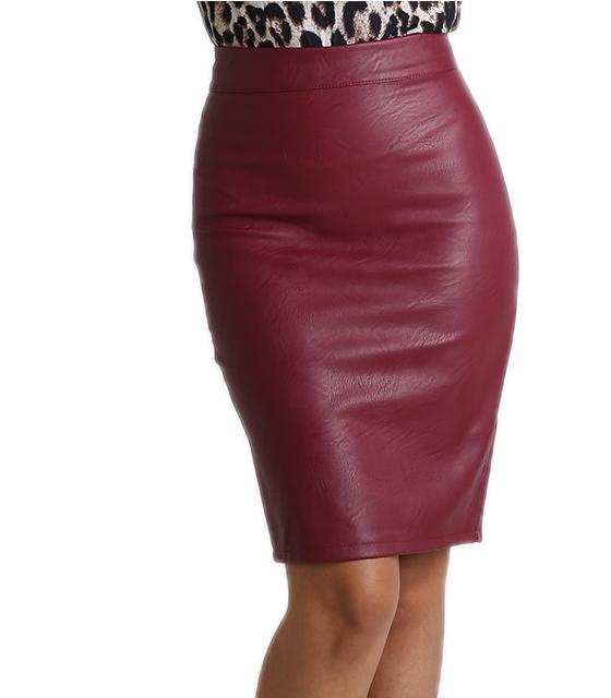 Φούστα δερματίνη με πιέτες και φερμουάρ (Σκούρο Μπορντό) ρούχα   bottoms