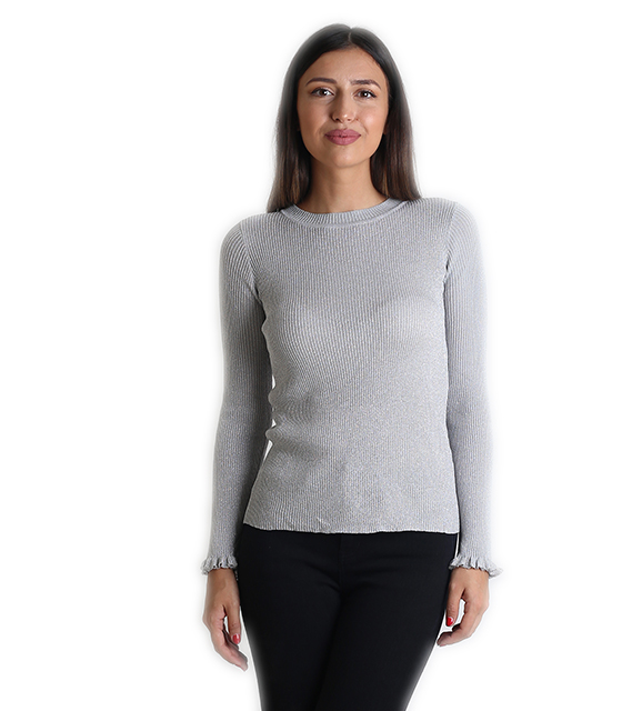 Λούρεξ μπλούζα με βολάν στα μανίκια (Ασημί) ρούχα   μπλούζες   top