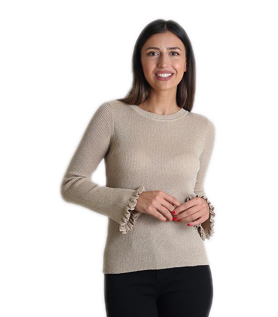 Λούρεξ μπλούζα με βολάν στα μανίκια (Χρυσό) ρούχα   μπλούζες   top