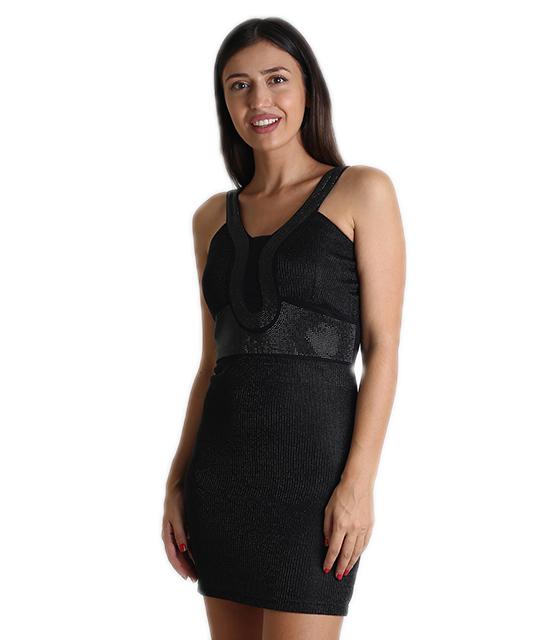 Μαύρο φόρεμα λούρεξ με τρουκς ρούχα   φορέματα
