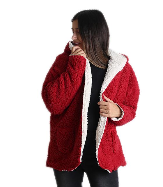 Ζακέτα φλις διπλής όψεως (Κόκκινο) ρούχα   πανωφόρια