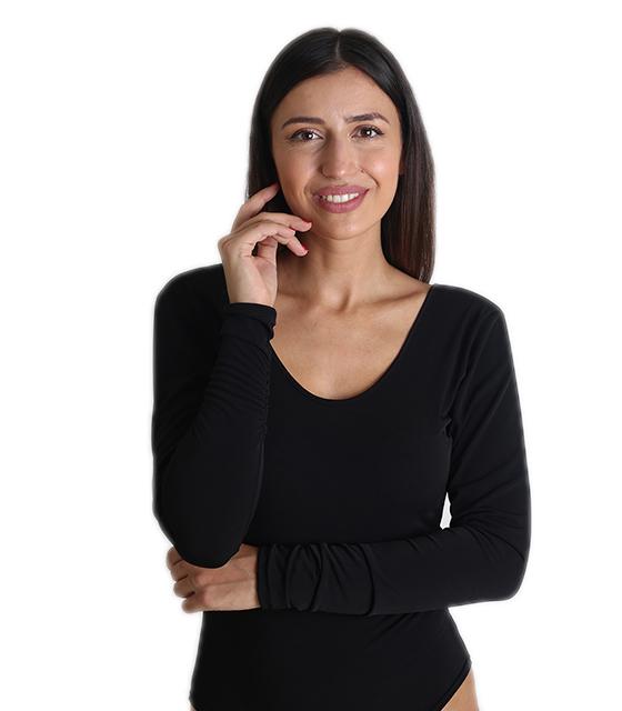 Μακρυμάνικο κορμάκι εξώπλατο (Μαύρο) ρούχα   μπλούζες   top   κορμάκια